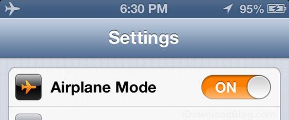 iPhone airplane mode settings