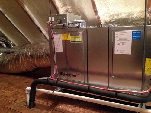 Unico air handler nestled in an Elkins Park attic