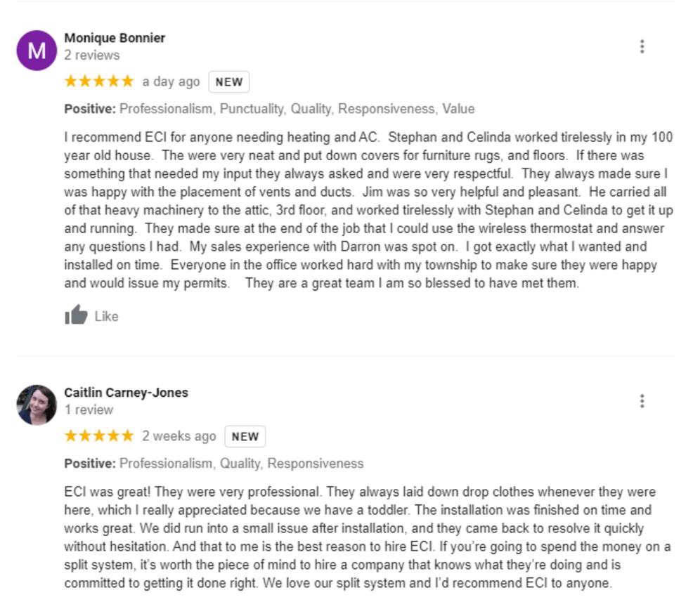 ECI Comfort 5 star Google review