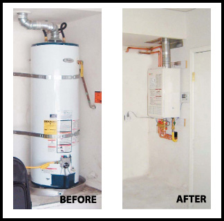 Tankless water heater before and after